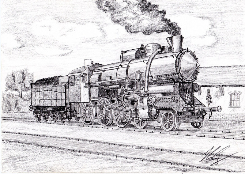 steam locomotive coal pencil draw 800x568
